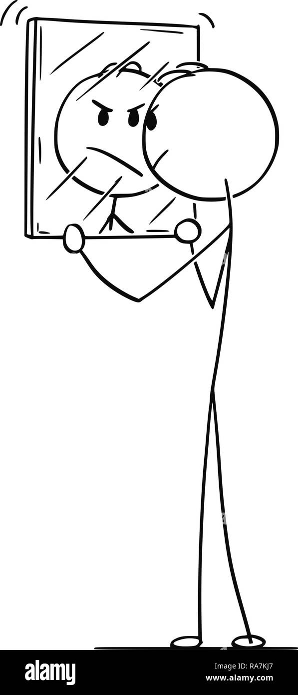 Cartoon of Angry Man Looking at Yourself in Mirror - Stock Vector