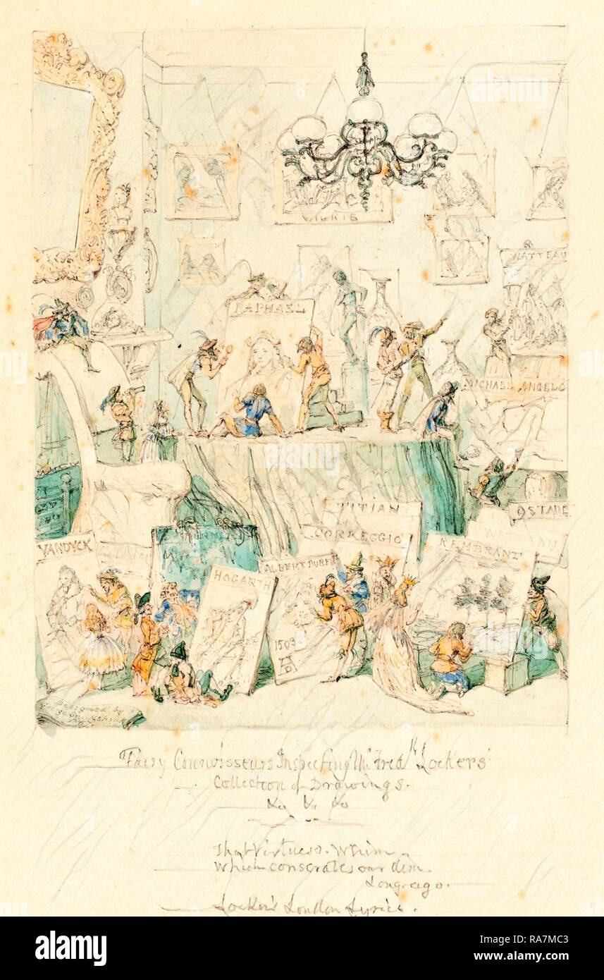 George Cruikshank, British (1792-1878), Fairy Connoisseurs Inspecting Mr. Frederick Locker's Collection of Drawings reimagined - Stock Image