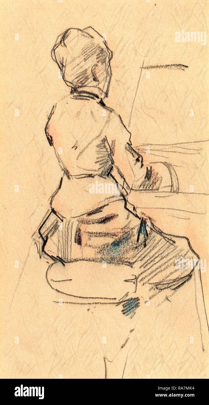Jean-Louis Forain, French (1852-1931), Young Woman Seated at a Piano [verso], c. 1890, black chalk on wove paper reimagined - Stock Image