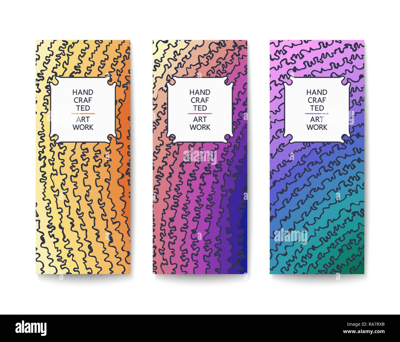 Abstract banner with a handmade painterly pattern of drawing doodle lines.  Multicolored design. Flat Vector template - Stock Image