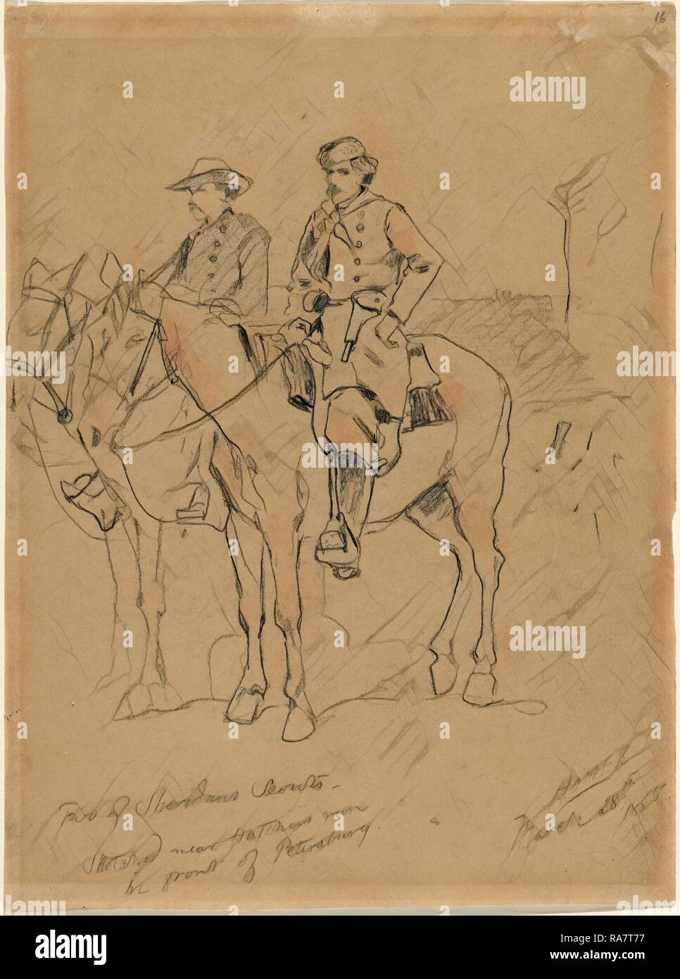 Winslow Homer, Two of Sheridan's Scouts, American, 1836 - 1910, 1865, graphite on wove paper. Reimagined - Stock Image