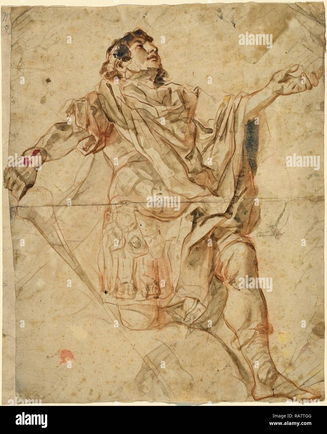 Cosmas Damian Asam (German, 1686 - 1739), Saint George Kneeling, 1720-1721, red chalk with gray-brown wash with reimagined - Stock Image