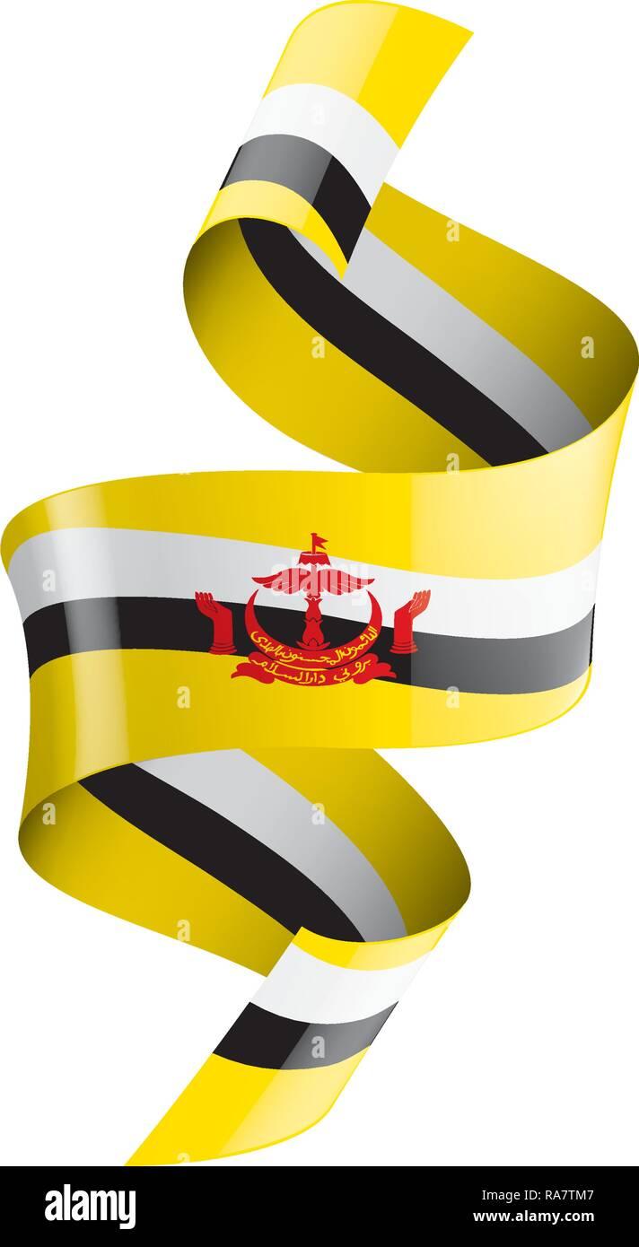 Brunei flag, vector illustration on a white background Stock Vector