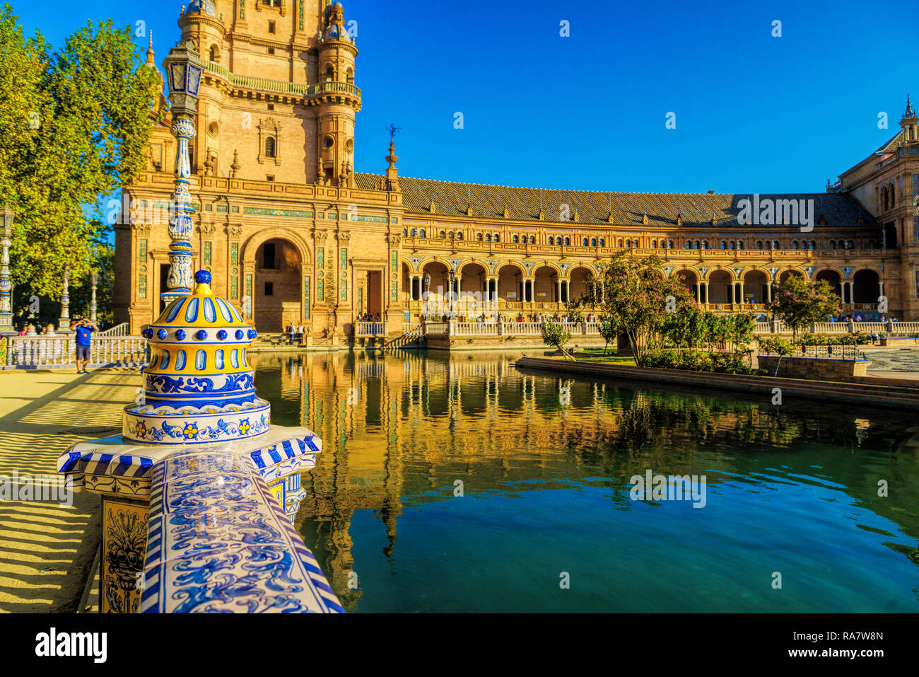 The Plaza de Espana, Seville, Spain built for the Ibero-American Exposition of 1929. It is a landmark example of the Renaissance Revival style in Span - Stock Image