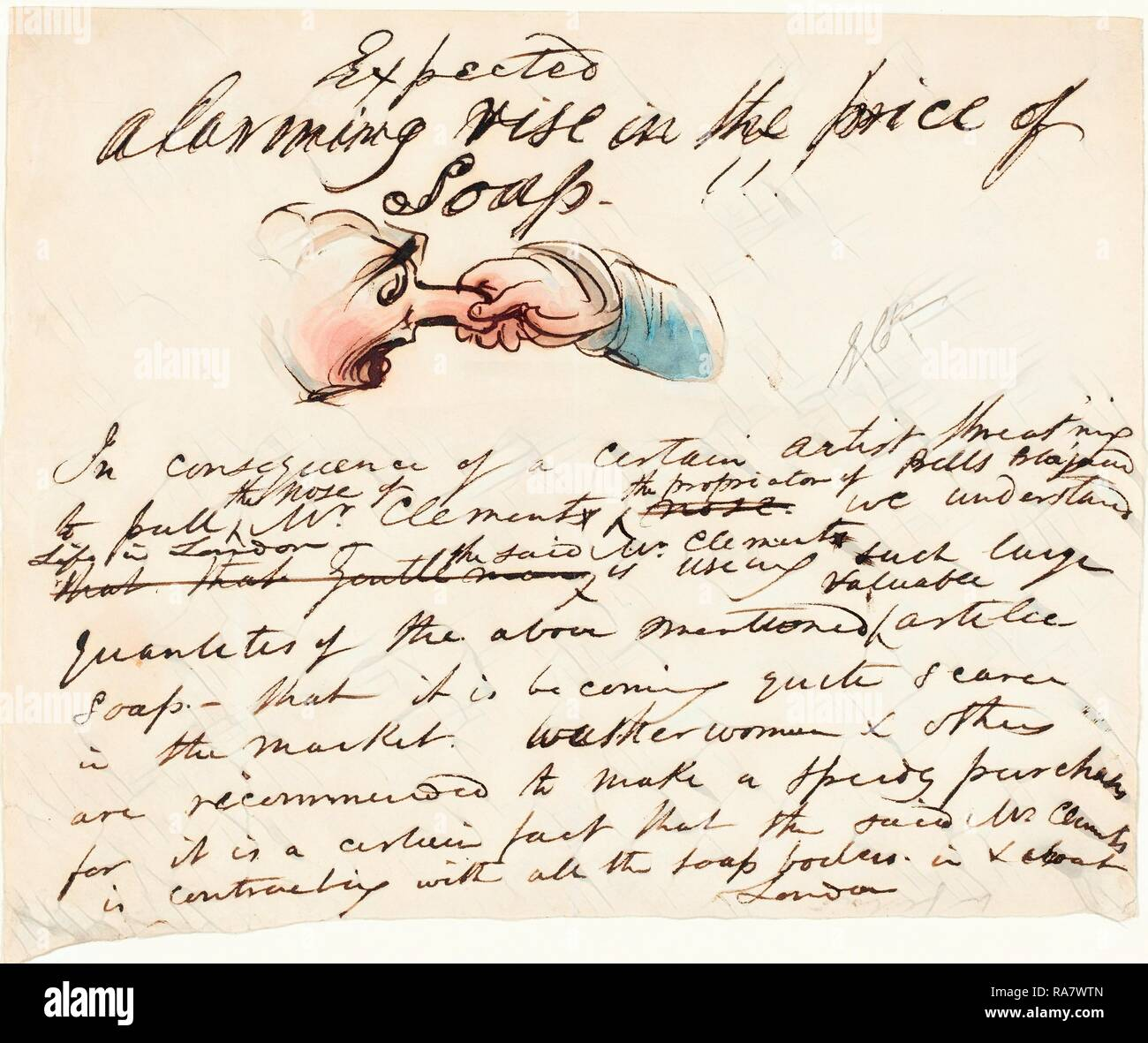 George Cruikshank (British, 1792 - 1878), 'Expected--alarming rise in the price of soap!', pen and brown ink with reimagined Stock Photo