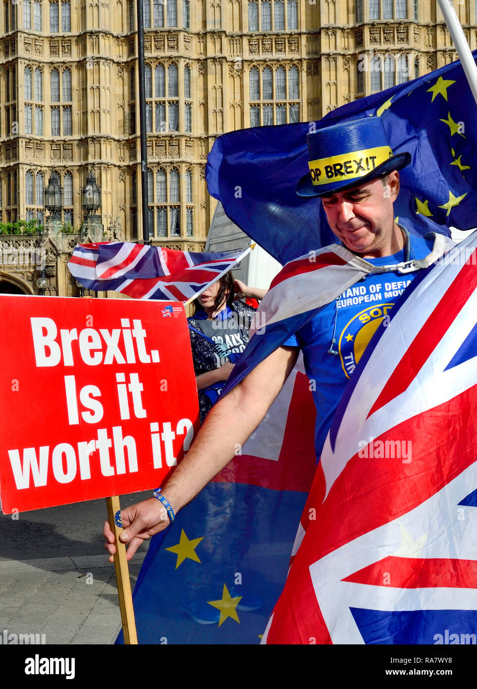 Steve Bray, anti-Brexit proteseter and founder of SODEM (Stand of Defiance European Movement) on his daily protest outside the Houses of Parliament -  - Stock Image