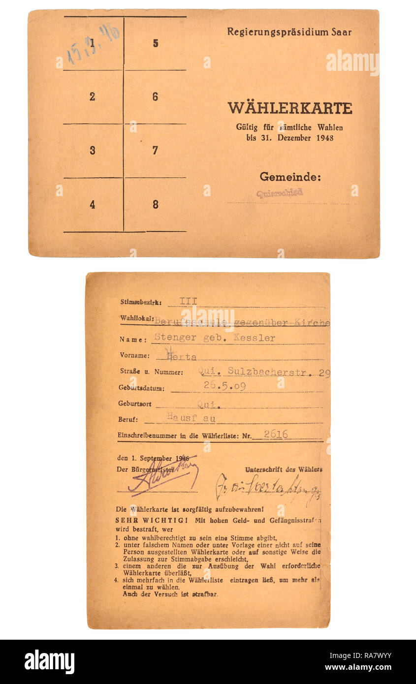 Voter registration card from Quierschied in the Saarland. 'Valid for all elections up to 31st December 1948' belonged to a Bertha Stenger (nee Kessler - Stock Image