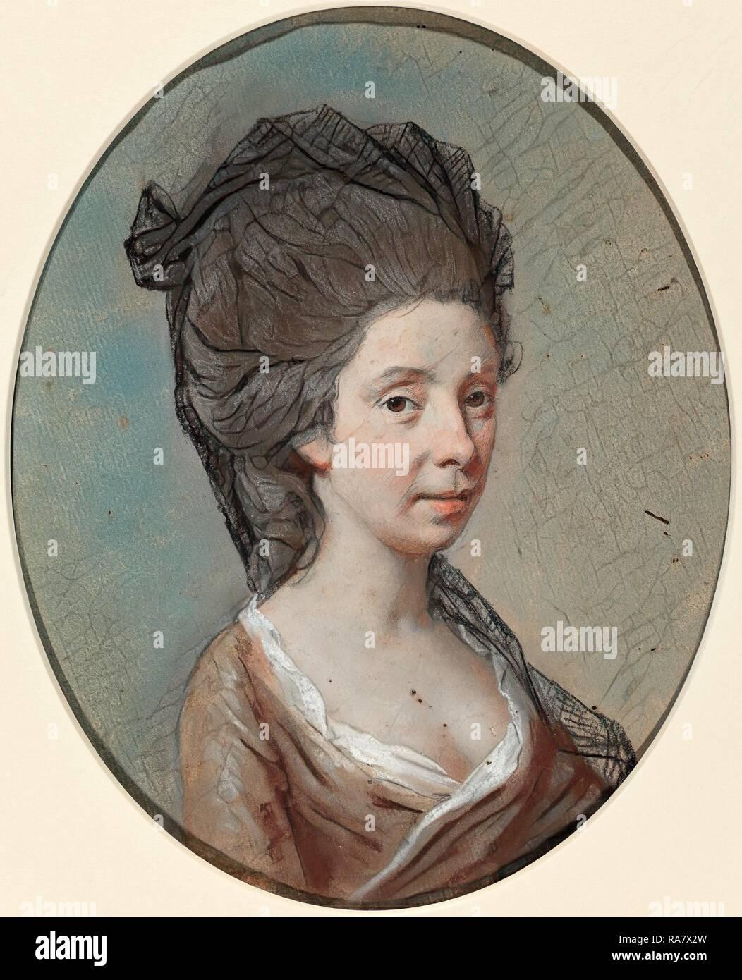 Hugh Douglas Hamilton (Irish, c. 1739 - 1808), Mary Fox, c. 1770, pastel on laid paper. Reimagined by Gibon. Classic reimagined - Stock Image