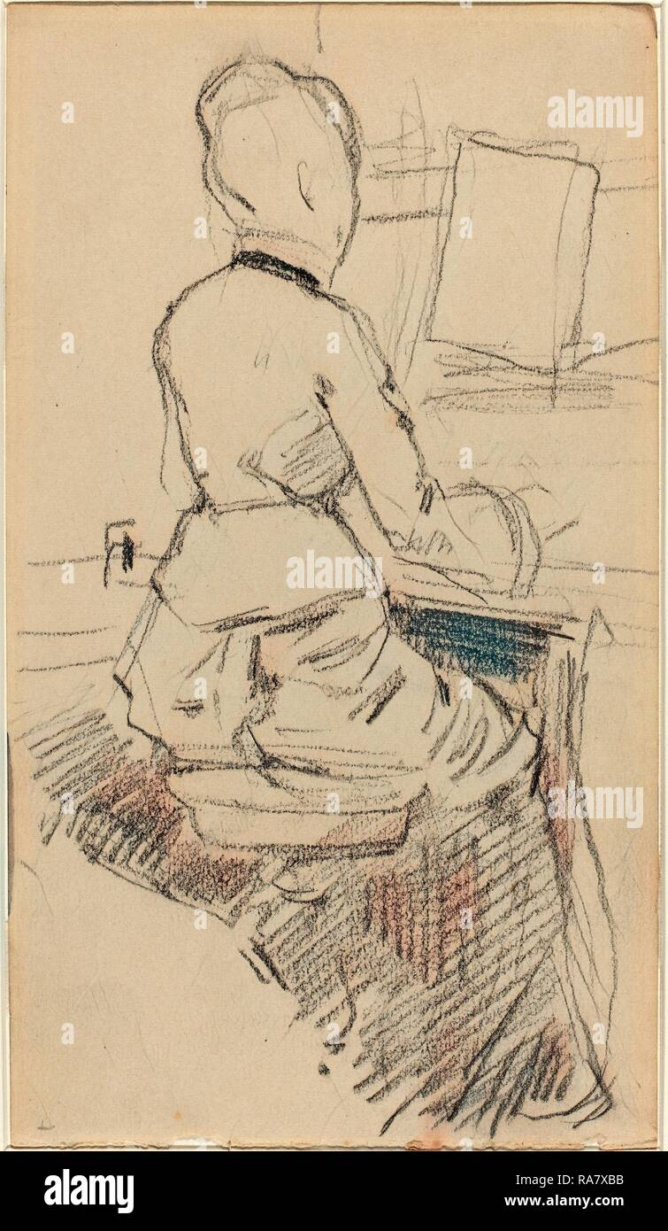 Jean-Louis Forain (French, 1852 - 1931), Young Woman Seated at a Piano [recto], c. 1890, black chalk on wove paper reimagined - Stock Image
