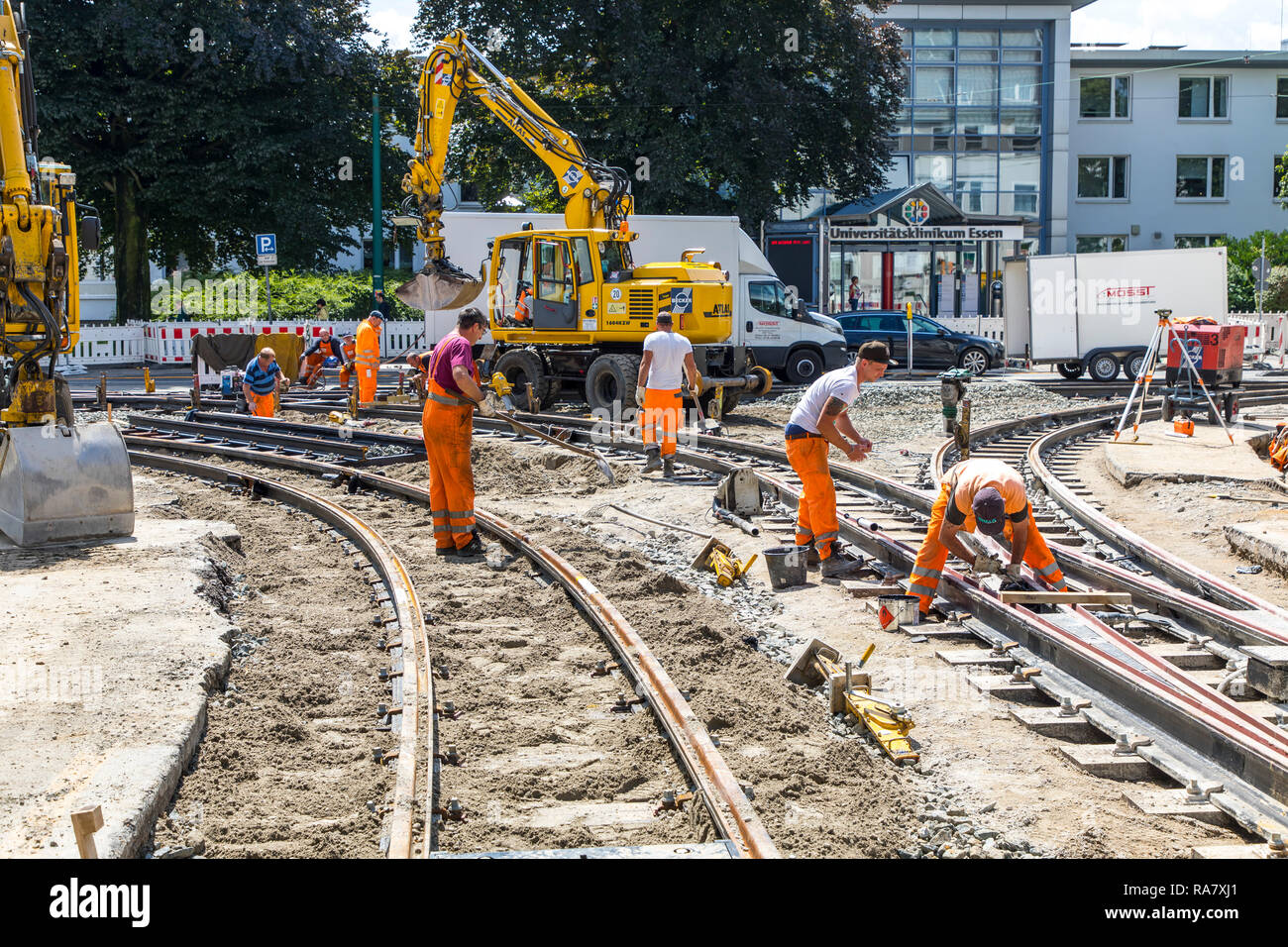 Construction work on tram rails, new construction, renovation of tram railway tracks, Essen, - Stock Image