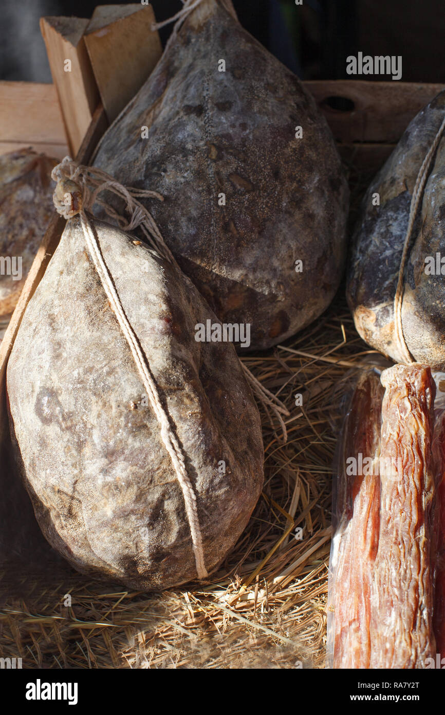 Dry cured pork meat. Gastronomic products for gourme. - Stock Image
