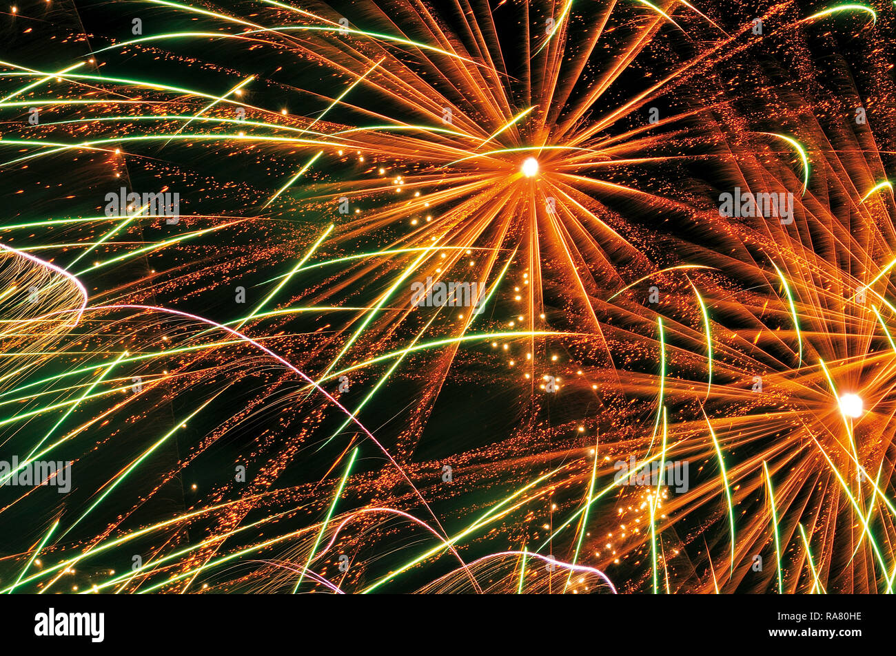 Colorful happy new year fireworks - Stock Image