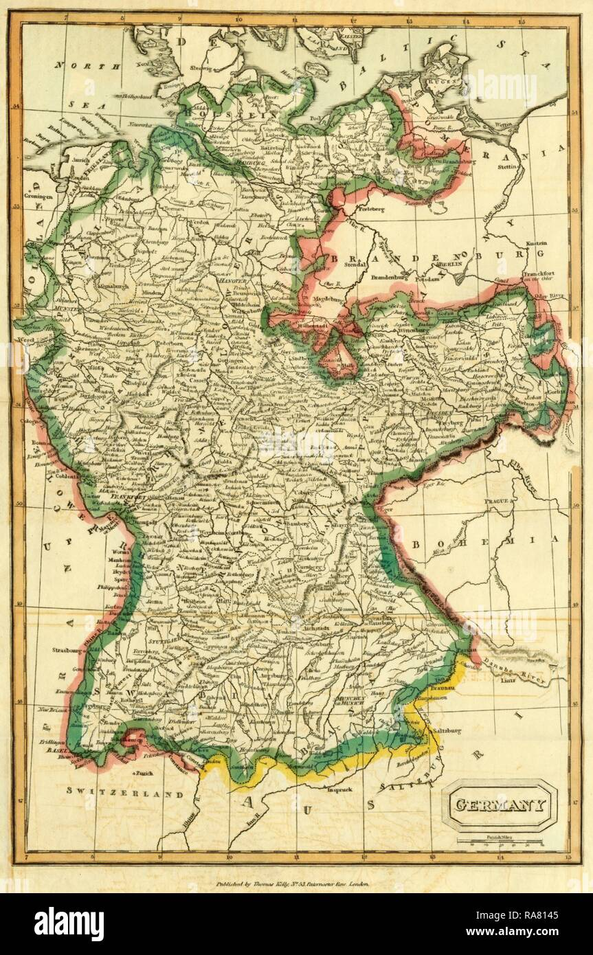 Map of Germany by Thomas Kelly, 1742-1812. Reimagined by Gibon. Classic art with a modern twist reimagined - Stock Image