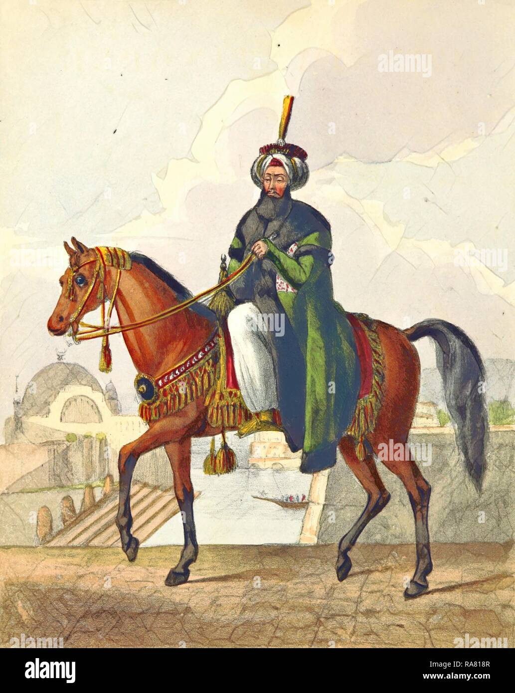 Sultan Mahmood, Constantinople in 1828, in the Turkish Capital and Provinces, Ottoman Empire, 19th century engraving reimagined - Stock Image