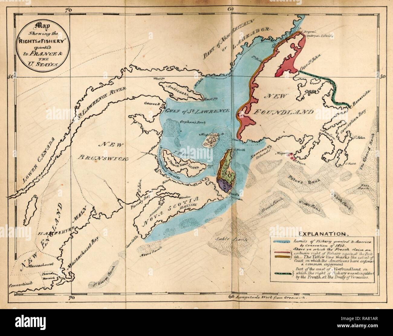 The British North American Colonies. Letters to E. G. S. Stanley, M.P, upon the existing treaties with France and reimagined - Stock Image