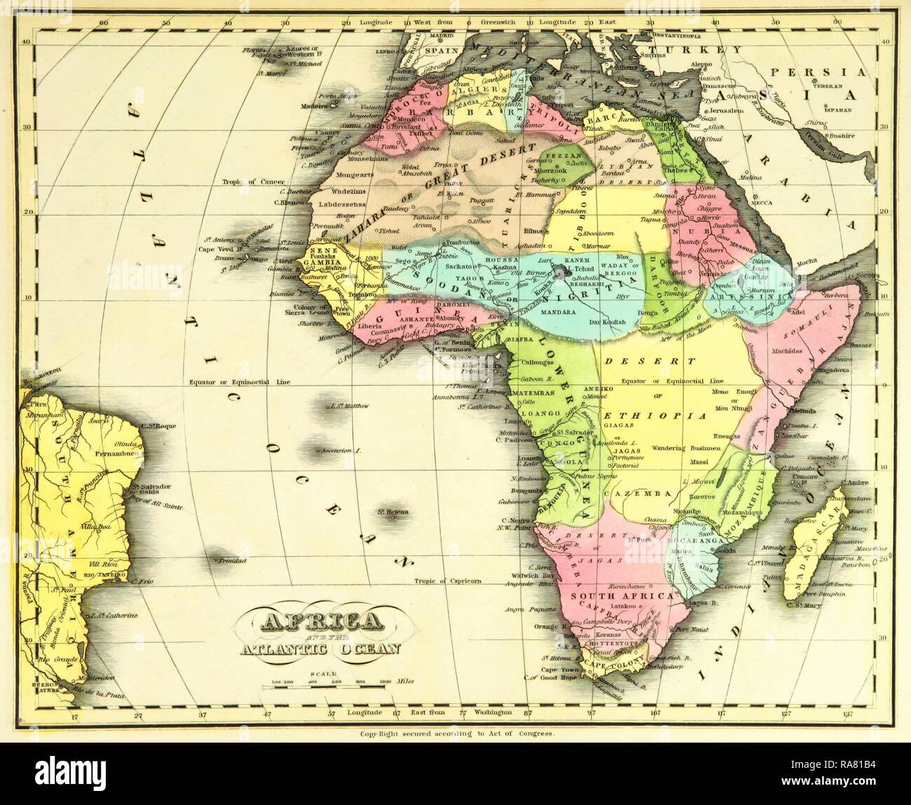 Map Africa, 19th century engraving. Reimagined by Gibon ...