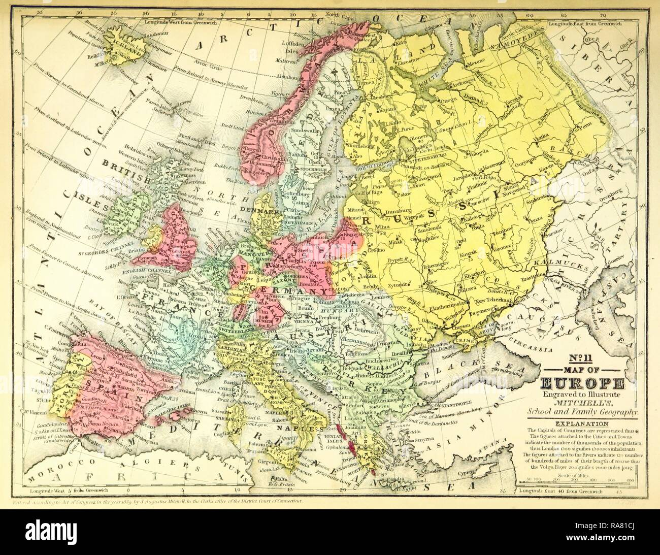 Map of Europe, 19th century engraving. Reimagined by Gibon. Classic ...