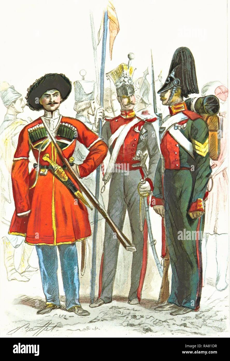 Russian army, Travel in the southern Russia and the Crimea in 1837, 19th century engraving. Reimagined - Stock Image