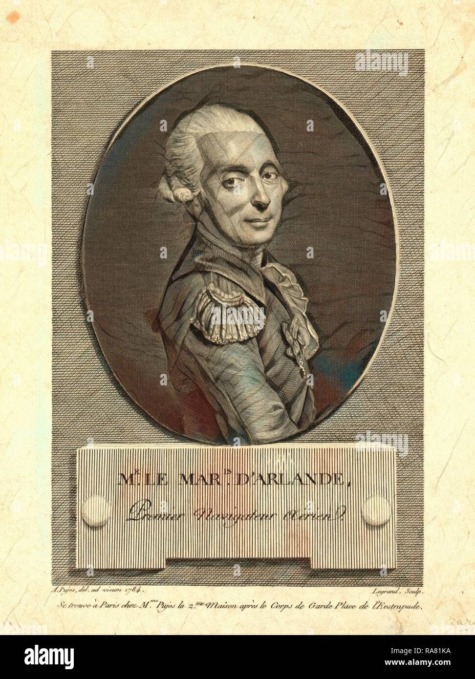 Mr. le maris. d'Arlande, first aerial navigator, Pujos, André, 1738-1788, artist, Half-length portrait of French reimagined Stock Photo