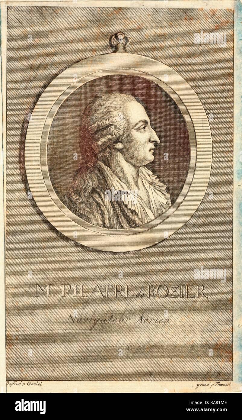 M. Pilatre de Rozier, aeronaut by p. Goulet , engraved by p. Thoenert. Reimagined by Gibon. Classic art with a modern reimagined - Stock Image