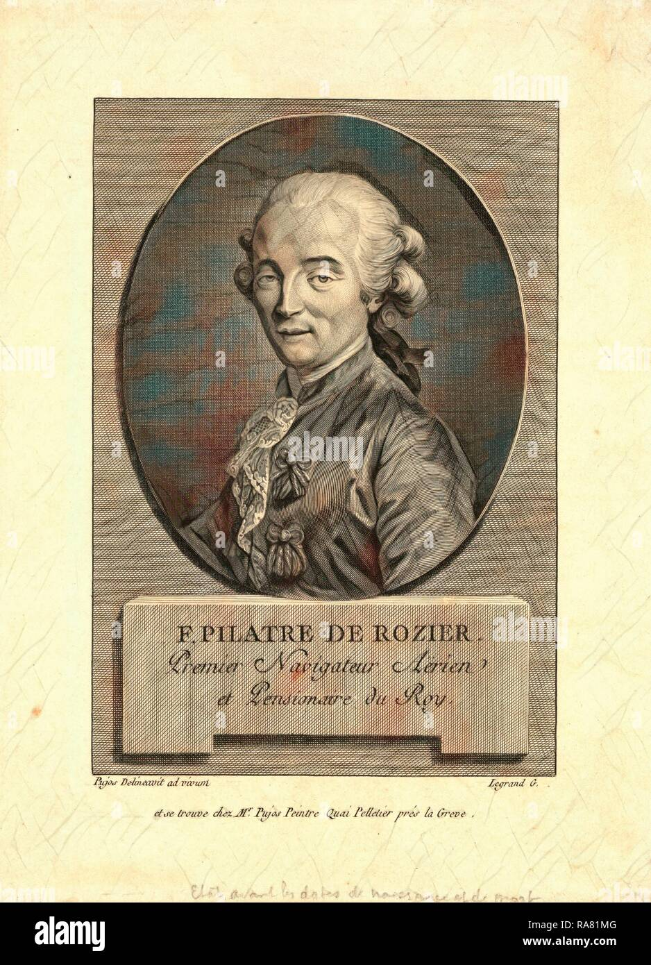 Oval head-and-shoulders portrait of French balloonist Jean-François Pilâtre de Rozier, who took the first balloon reimagined - Stock Image