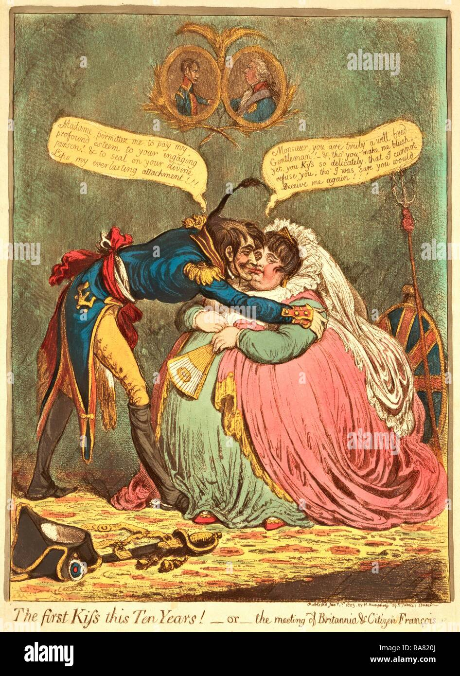 The first Kiss this Ten Years! - or - the meeting of Britannia & Citizen Francois, Gillray, James, 1756 1815 reimagined - Stock Image