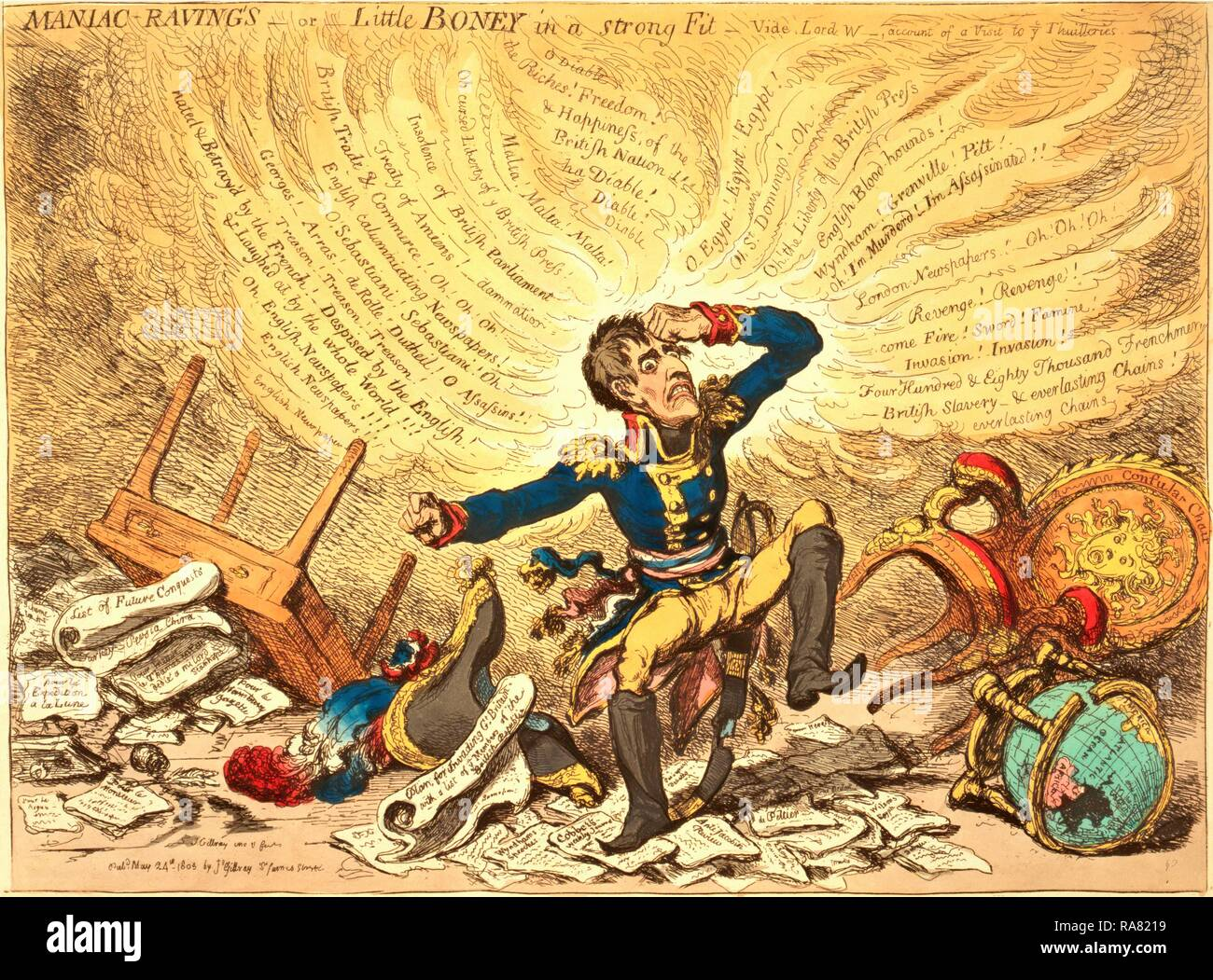 Maniac-raving's or Little Boney in a strong fit, Gillray, James, 1756-1815, engraver, London, 1803, Napoleon in a reimagined Stock Photo