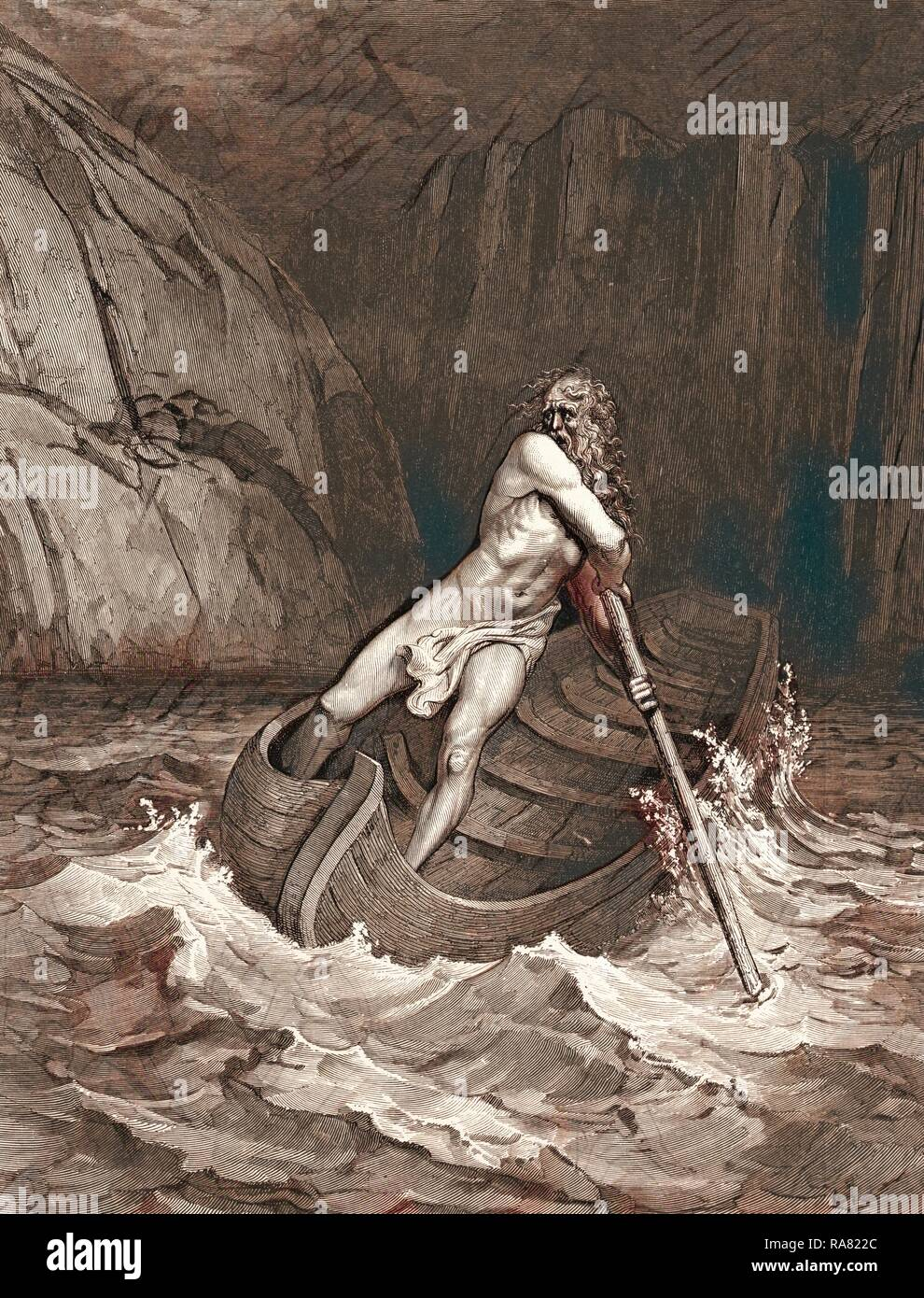 Charon, the Ferryman of Hell, 1861 by Gustave Doré, 1832 - 1883, French. Engraving for the Inferno by Dante reimagined - Stock Image
