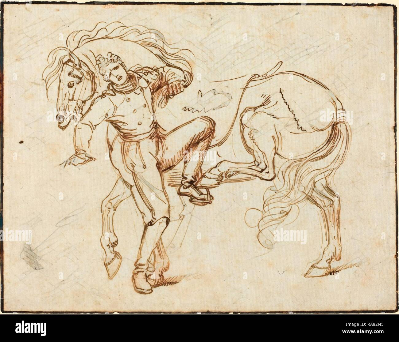 Luigi Sabatelli I (Italian, 1772 - 1850), Cavalryman Mounting a Horse, pen and brown ink on laid paper. Reimagined - Stock Image
