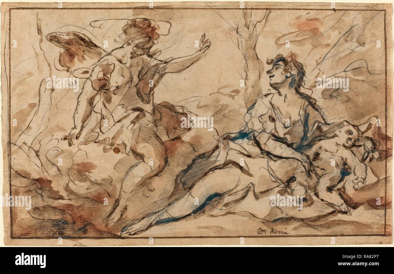 Sebastiano Ricci (Italian, 1659 - 1734), The Angel Appearing to Hagar and Ishmael, 1726-1727, pen and brown ink and reimagined Stock Photo