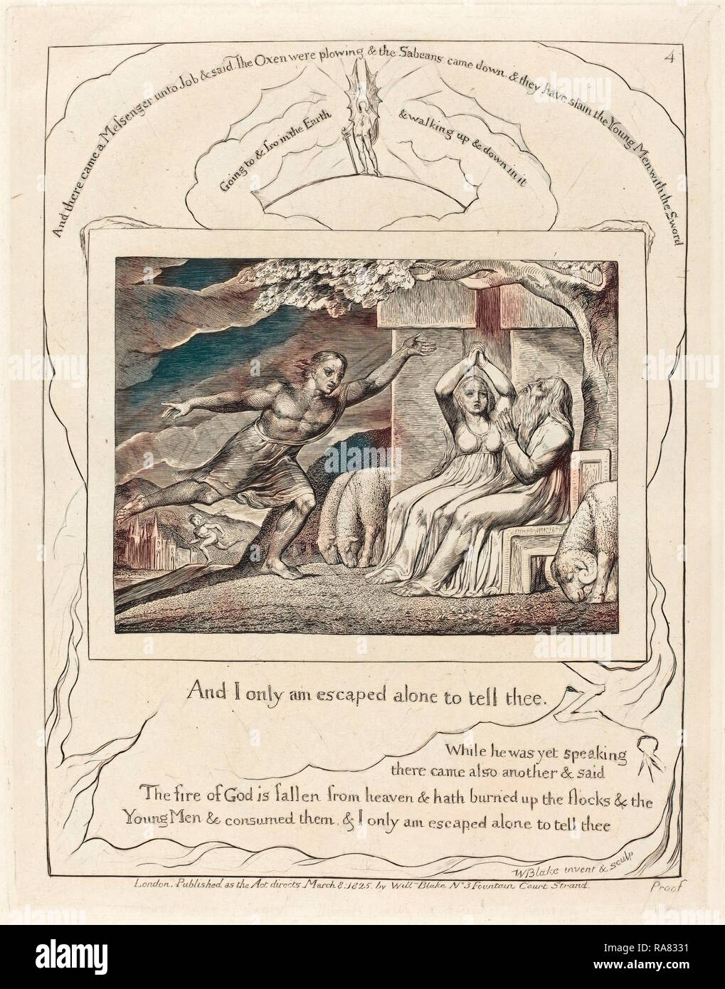 William Blake (British, 1757 - 1827), The Messengers Tell Job of His Misfortunes, 1825, engraving on India paper reimagined - Stock Image
