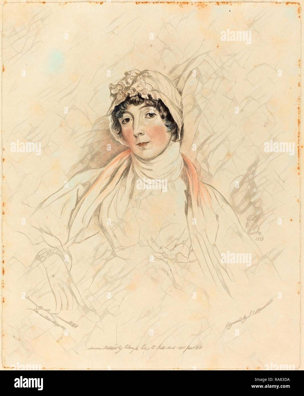Frederick Christian Lewis I after Sir Thomas Lawrence (British, 1779 - 1856), Lucy Lawrence, 1831, hand-colored reimagined - Stock Image