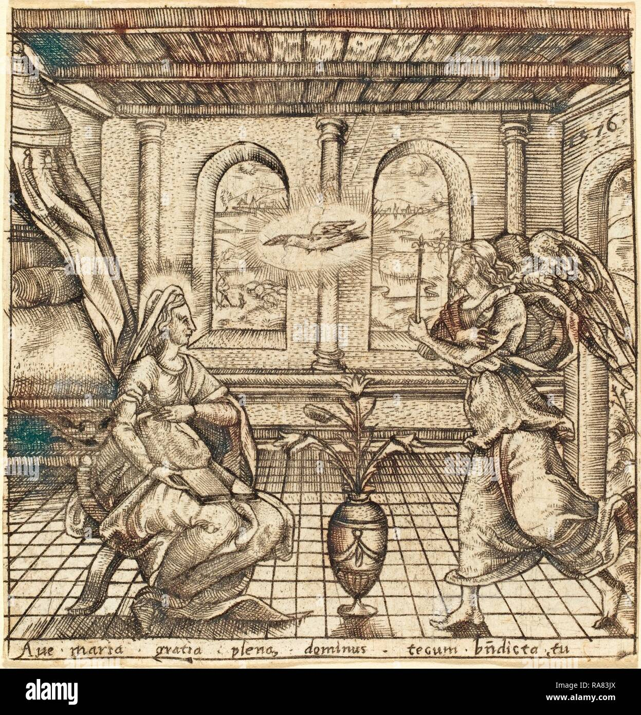 Léonard Gaultier (French, 1561 - 1641), The Annunciation, probably c. 1576-1580, engraving. Reimagined Stock Photo