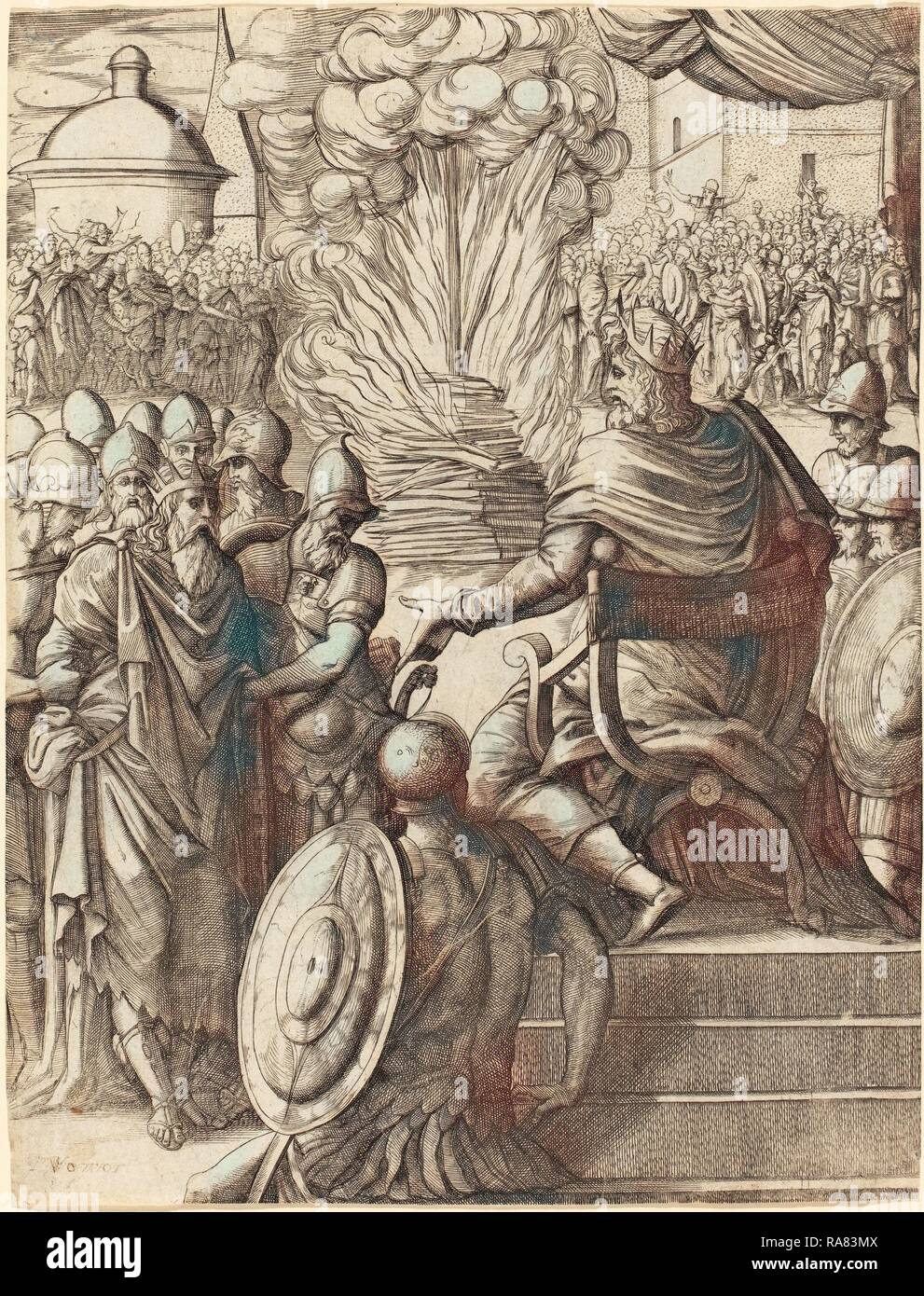 Pierre Woeiriot (French, 1532 - 1599), Heraclius Sentencing the Tyrant Phocas, engraving. Reimagined - Stock Image