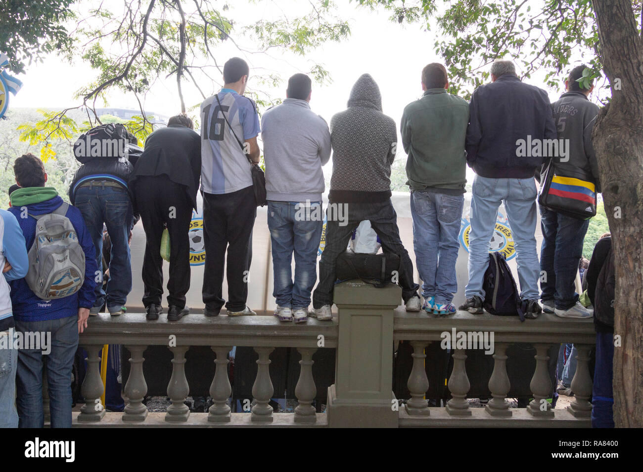 Buenos Aires State/Argentina 25/06/2014. Argentina soccer team fans watching The soccer world cup 2014 Argentina vs Nigeria in Plaza San Martín or San - Stock Image