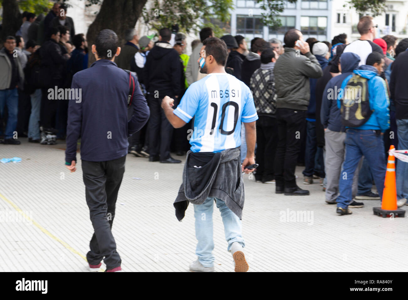 Buenos Aires State/Argentina 25/06/2014. Argentina soccer team fan wearing the Messi's t-shirt  during The soccer world cup 2014 Argentina vs Nigeria - Stock Image