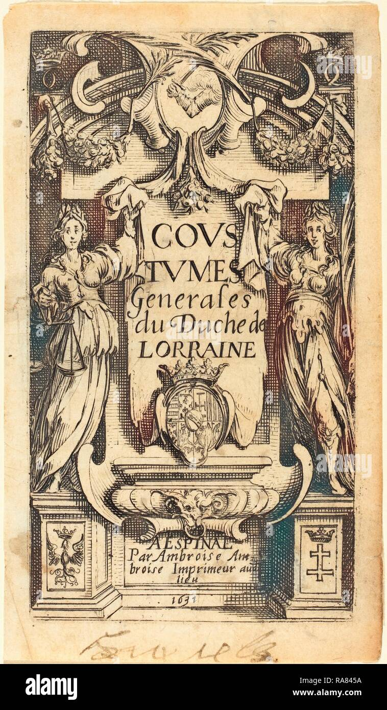 Jacques Callot (French, 1592 - 1635), Frontispiece for 'The Customs of Lorraine', etching. Reimagined - Stock Image