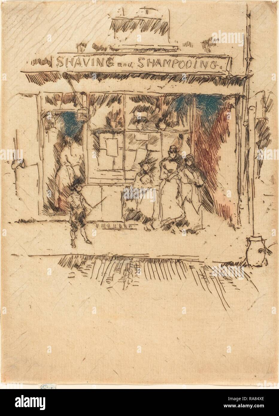 James McNeill Whistler (American, 1834 - 1903), Shaving and Shampooing, c. 1886-1888, etching. Reimagined - Stock Image