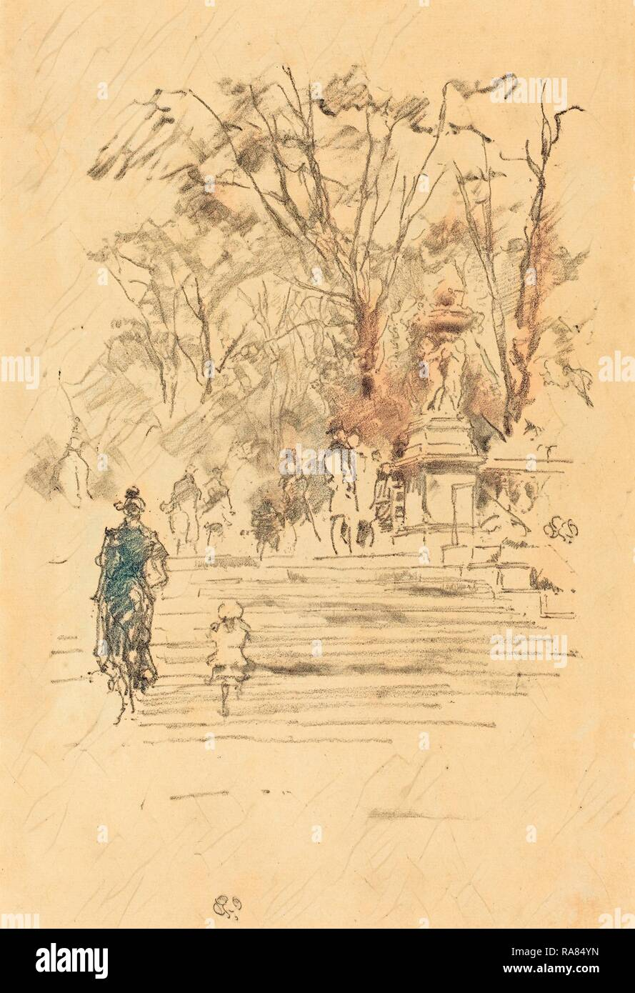 James McNeill Whistler (American, 1834 - 1903), The Steps, Luxembourg Gardens, 1893, lithograph. Reimagined - Stock Image