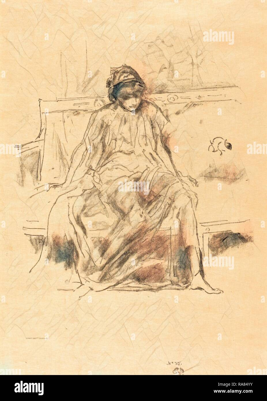 James McNeill Whistler (American, 1834 - 1903), The Draped Figure Seated, 1893, lithograph. Reimagined - Stock Image