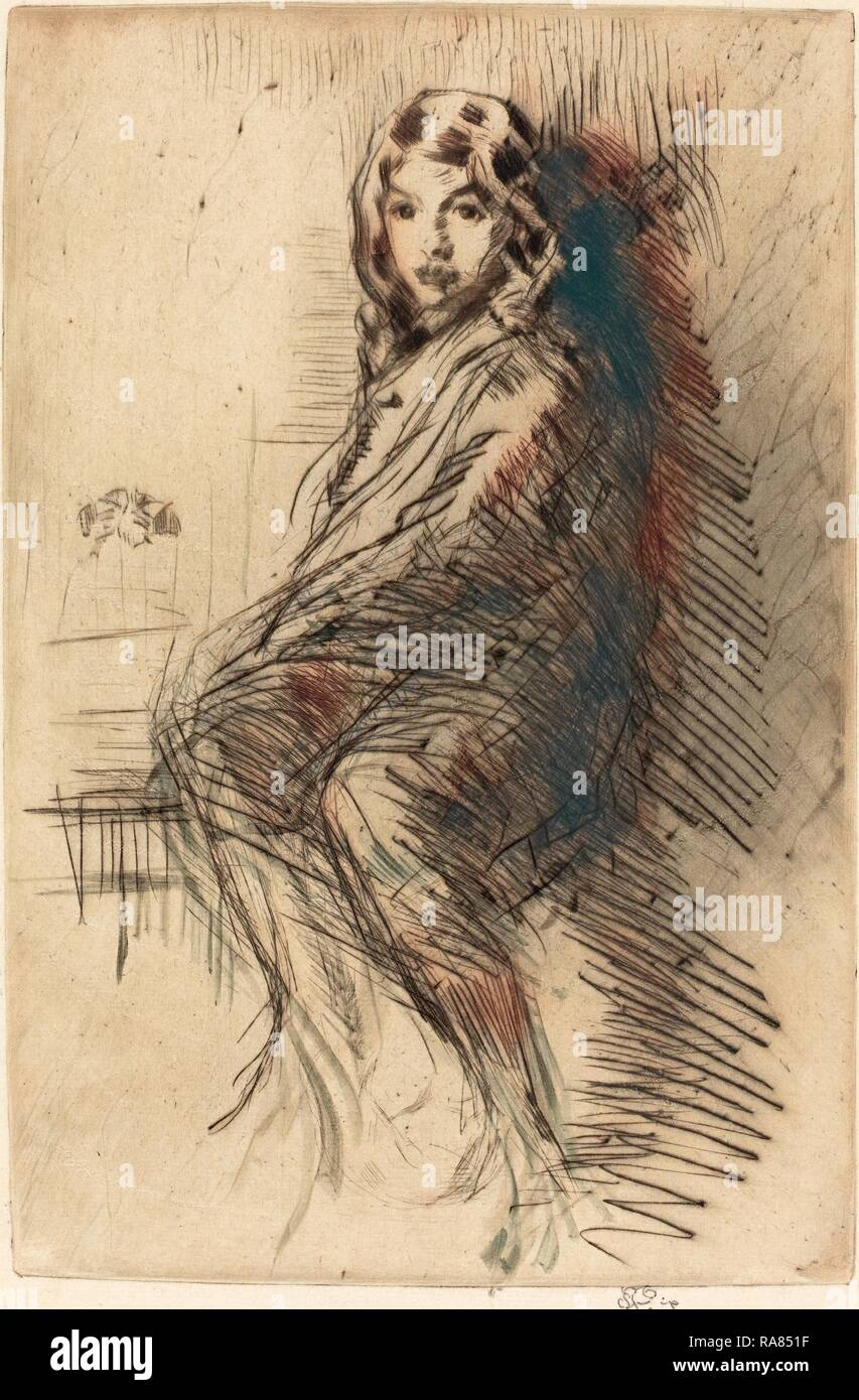 James McNeill Whistler (American, 1834 - 1903), The Boy, c. 1873-1875, etching and drypoint. Reimagined - Stock Image