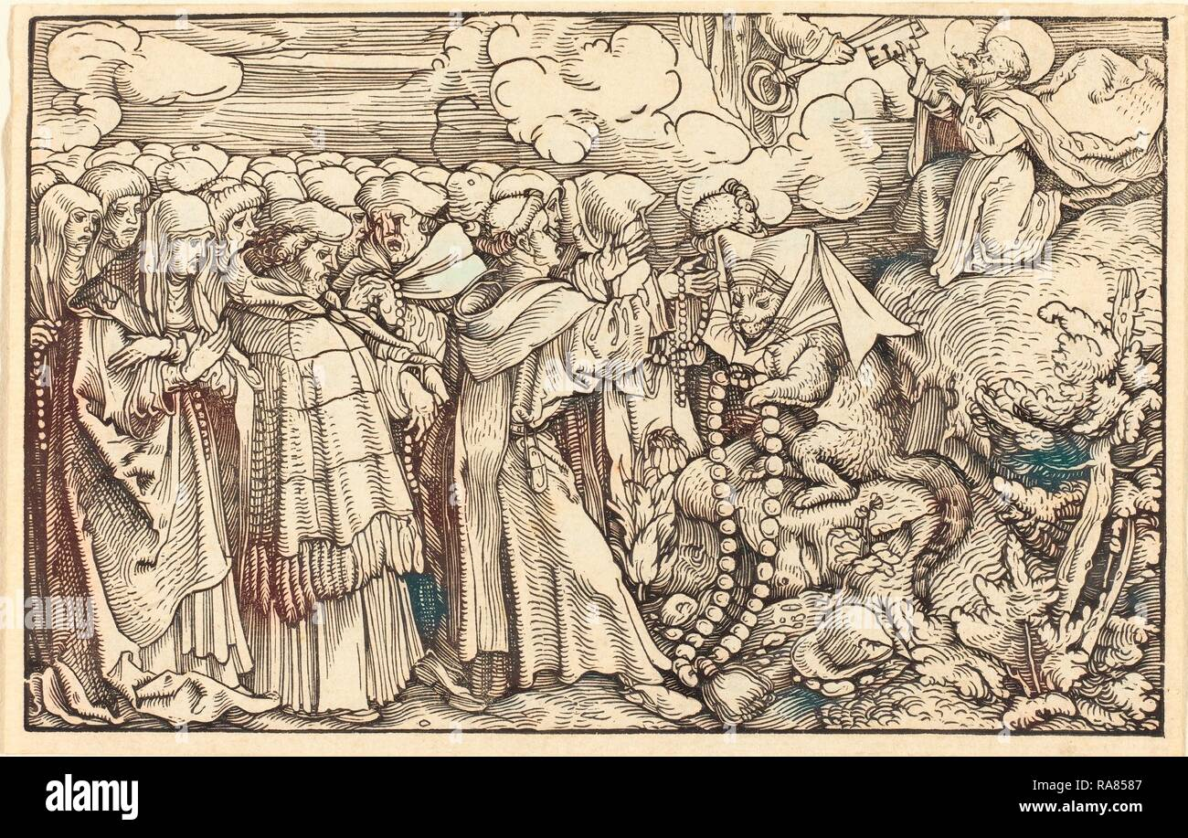 Hans Weiditz, II (German, 1500 or before - c. 1536), Allegory - Religious Frivolity, woodcut. Reimagined - Stock Image