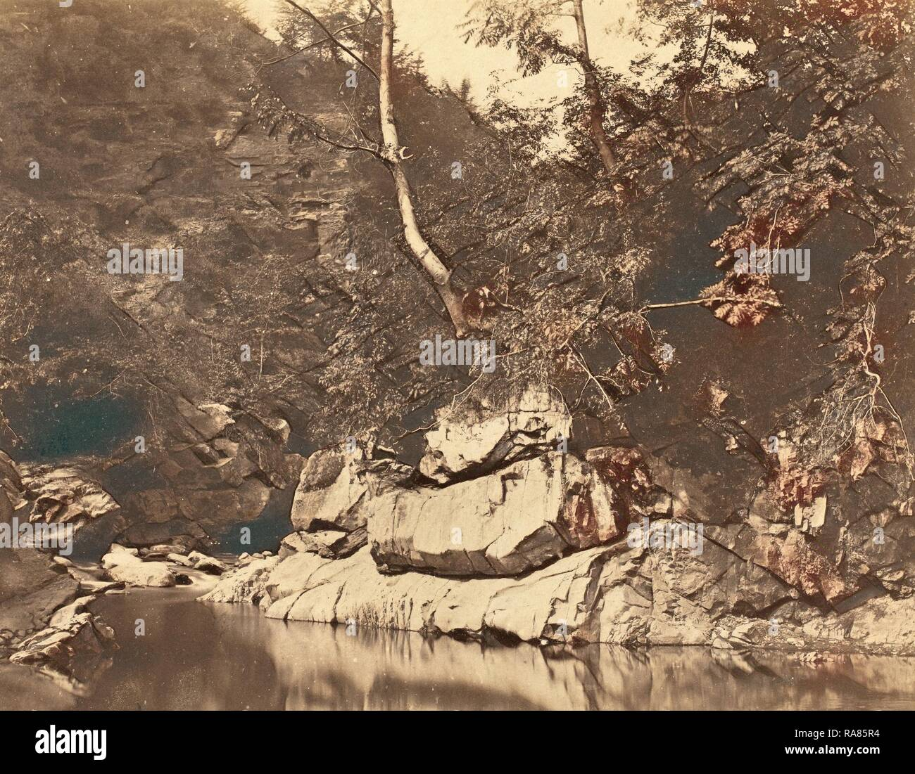 G.B. Gething (British, active c.1850s), River Scene, c. 1855, salted paper print. Reimagined by Gibon. Classic art reimagined - Stock Image