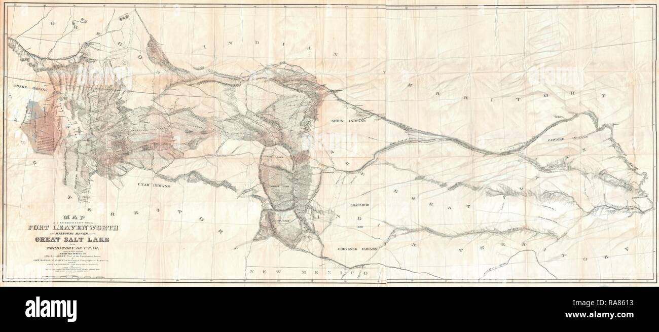 1852, Stansbury Map, Great Salt Lake to Fort Levenworth ...