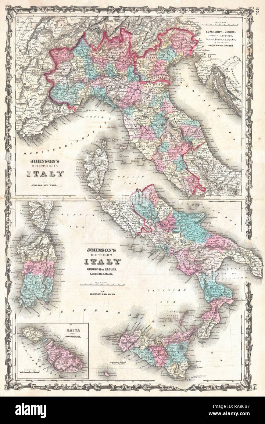 Map Of Naples And Sicily Stock Photos Map Of Naples And Sicily