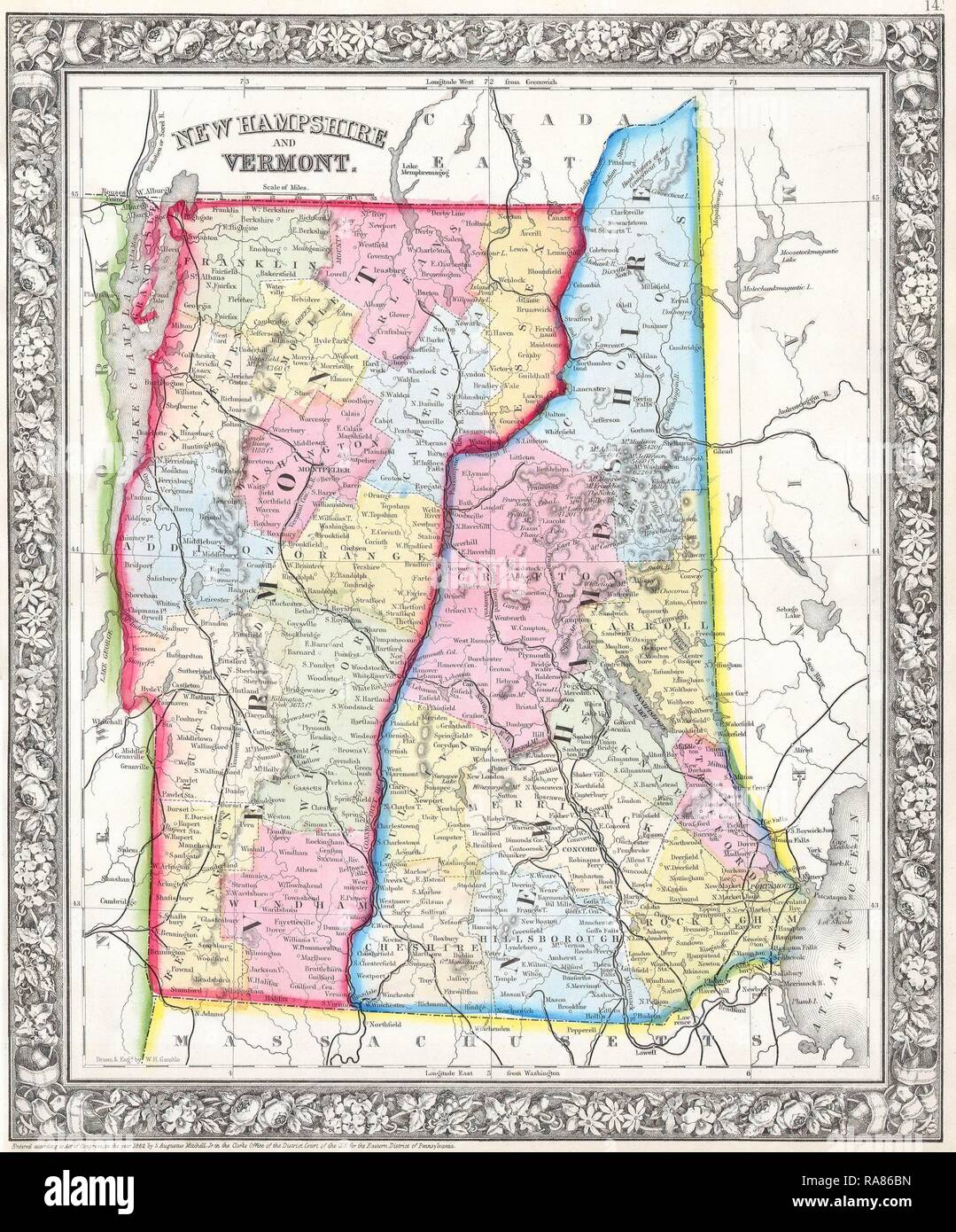 1862 Mitchell S Map Of Vermont And New Hampshire