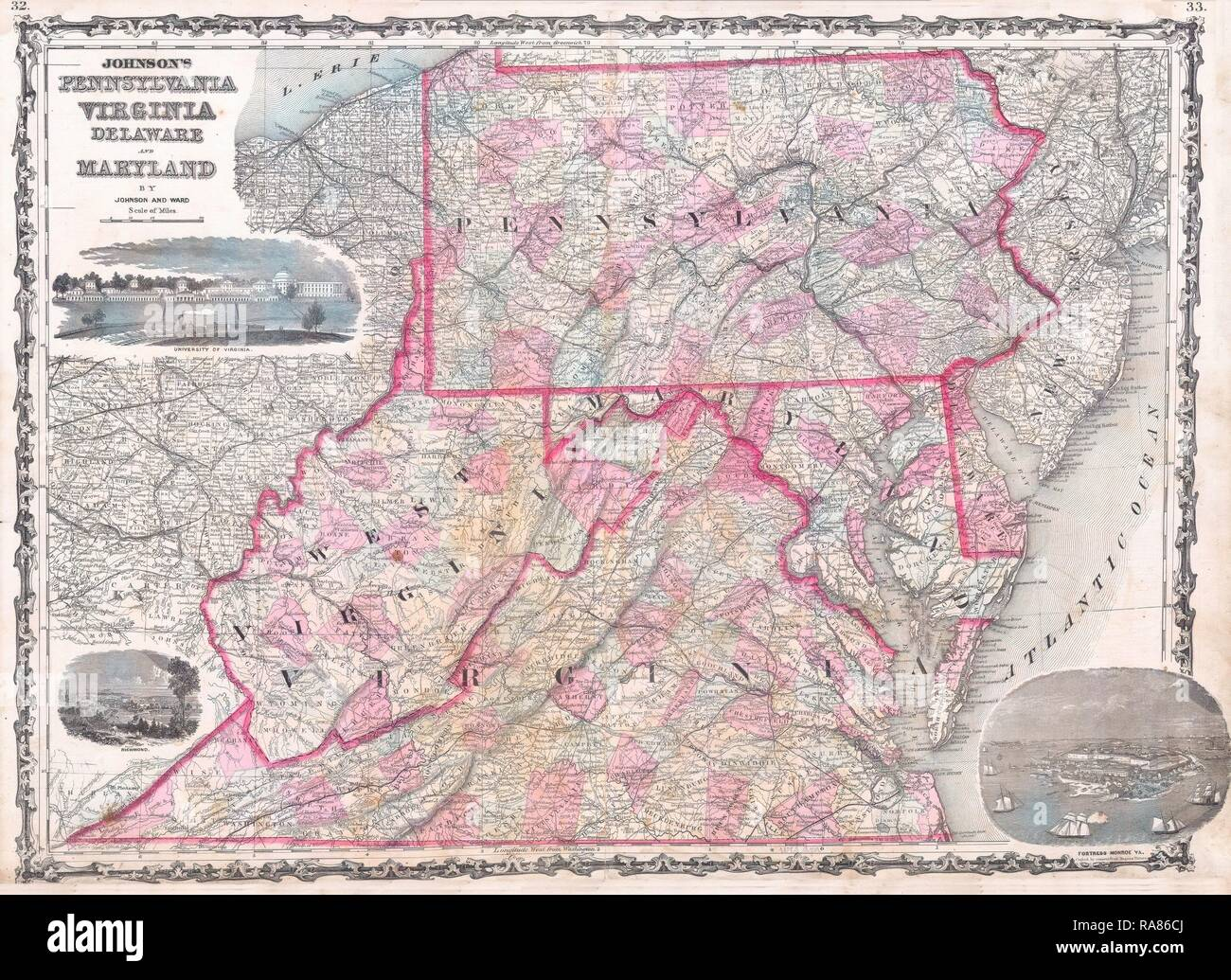 1863, Johnson Map of Virginia, Maryland, Delaware and ...