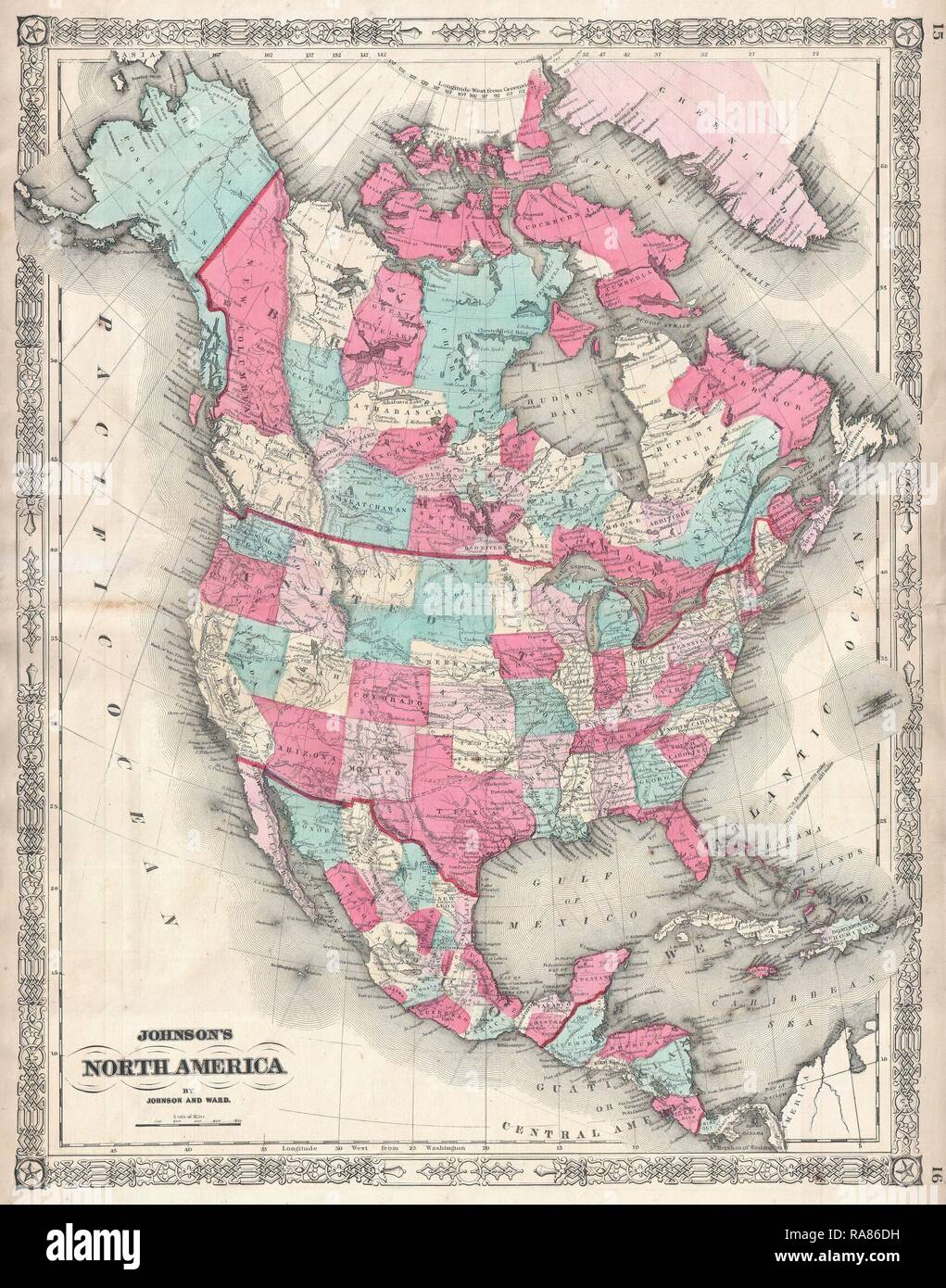 1864, Johnson Map of North America, Canada, United States, Mexico ...