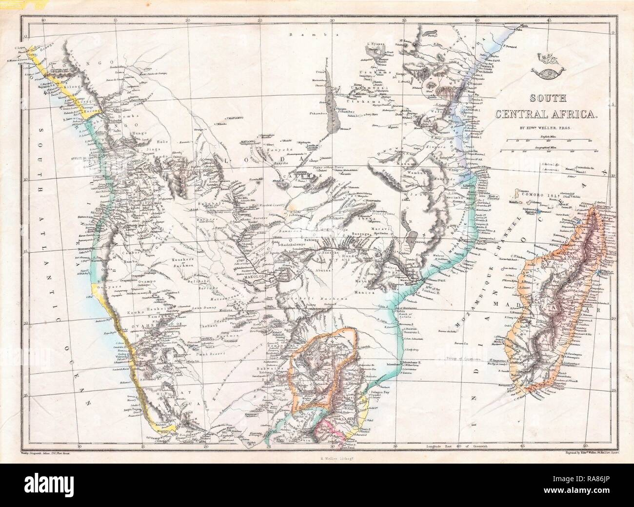 1868, Dispatch, Weller Map of South Central Africa, Angola, Botswana, Tanzania, etc. Reimagined by Gibon. Classic art reimagined - Stock Image
