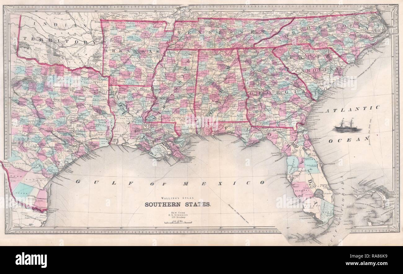 Map Of Texas To Florida.1868 Walling Map Texas Florida Stock Photos 1868 Walling Map Texas